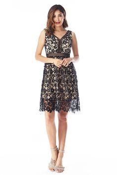 Black v-neck crotchet sleeveless fit and flare dress