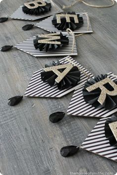 Black, Gold & White Art Deco Inspired Halloween Shelf Decor could do other words on banner, cute idea! Last Halloween, Halloween Banner, Diy Halloween Decorations, Holidays Halloween, Birthday Decorations, Halloween Crafts, Paper Decorations, Happy Halloween, Halloween Party