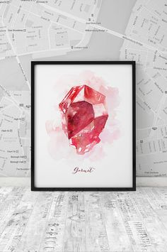 Watercolor Garnet Print, January Birthstone printable poster, Watercolor gemstone, Home Decor, Gift, Wall Decor, Wall Art, INSTANT DOWNLOAD.