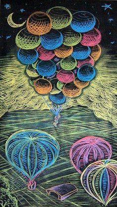 Hot air balloons & bunch of  balloons chalk art