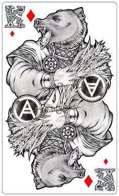 VELES (sketch) - by Losenko bear wolf jackal deck card movie comic book cover art cards poster packaging advertising marketing | Create your own roleplaying .