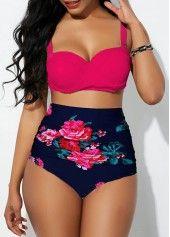 High Waist Flower Print Tie Back Bikini Set Cheap bikini Swimwear online for sale Bikini Modells, Bikini Sets, Sexy Bikini, Bikini Bottoms, Women's Plus Size Swimwear, Plus Size Bikini, Plus Size High Waisted Bikinis, Curvy Swimwear, Women's Swimwear