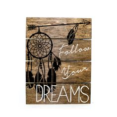 Arrow Dream Catcher - follow your dreams Pallet Sign - Indie home decor, gifts for her, reclaimed pallet, Aztec Bedroom Decor, Wood Sign by LEVinyl on Etsy