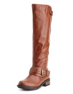 Belted Low-Heel Riding Boot