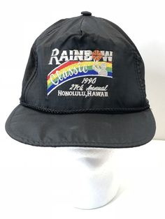 e8b49422ac2 Sports Teams Hats Visors Caps · 1990 27th Rainbow Classic Hawaii  Black Rainbow Flat Brim Basketball Trucker Hat  Yupoong