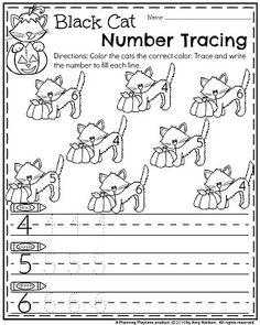 Halloween Preschool Worksheets - Black Cat Number Recognition and Tracing. Fall Preschool, Preschool Learning Activities, Preschool Lessons, Kindergarten Teachers, Kindergarten Worksheets, Preschool Activities, Preschool Homework, Number Activities, Halloween Worksheets