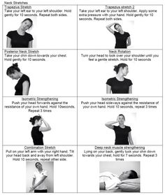 """""""neck exercises"""" (Awesome daily routine for my chronic neck pain.) """"neck exercises"""" (Awesome daily routine for my chronic neck pain.),PT """"neck exercises"""" (Awesome daily routine for my chronic neck pain. Shoulder Exercises Physical Therapy, Neck And Shoulder Exercises, Shoulder Workout, Physical Exercise, Scoliosis Exercises, Neck Exercises, Neck Stretches, Neck Strengthening, Trapezius Stretch"""
