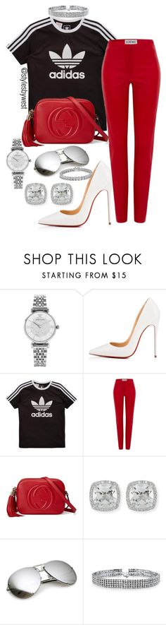 """Adidas red"" by ebony-west ❤ liked on Polyvore featuring Emporio Armani, Christian Louboutin, adidas Originals, Loewe, Gucci, Frederic Sage, Bling Jewelry and Apples & Figs"