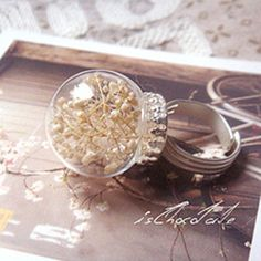 Eternal Summer | Snow small white baby's breath natural dried flowers handmade glass beads crystal ball ring ring *