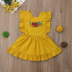 Ruffle Sleeve Embroidery Floral Mustard Dress from kidspetite.com! Adorable & affordable baby, toddler & kids clothing. Shop from one of the best providers of children apparel at Kids Petite. FREE Worldwide Shipping to over 230+ countries ✈️ www.kidspetite.com #dresses #clothing #girl #toddler