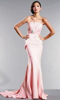 Pink Strapless Long/Floor-length Sleeveless Blush Evening Dress ED3334