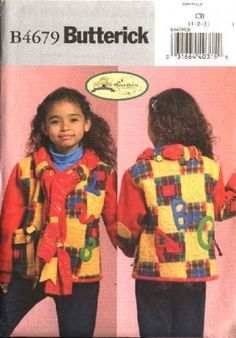 Butterick Sewing Pattern 4679 Toddlers Boys Girl Size 1-2-3 Quilted Appliqued Jacket Attached Scarf