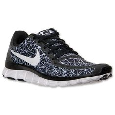 Women's Nike Free 5.0 V4 Running Shoes | FinishLine.com | Black/White/Black