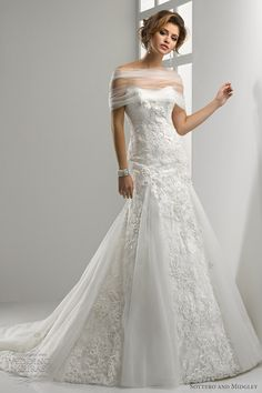 Edwina fit and flare strapless lace gown with flowing tulle godets; shown with gathered tulle stole.