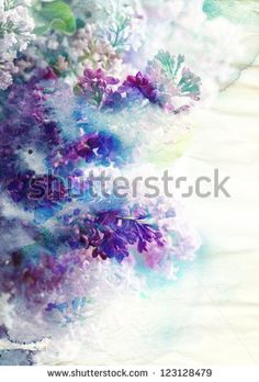 Abstract ink painting combined with Lilac flowers on paper texture - stock photo