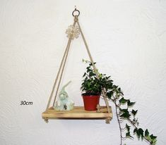 Hanging Rope Shelf, Rustic Pyramid Swing Shelf Charred — Sew Very Chic Hanging Rope Shelves, Plant Hanger, House Plants, Pine, Shelf, Rustic, Contemporary, Simple, Wall