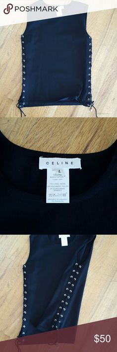 Celine lace up top Wool muscle top with lace up sides and tassels, tight fitting slightly worn, good condition, silver hard wear. Authentic. Celine Tops Tank Tops