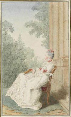 Portrait de Madame la comtesse Sapieha, assise sur une chaise, de profil, tenant un livre, sur une terrasse, vers 1765 Louis Carrogis dit Carmontelle