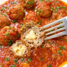 These easy mozzarella stuffed meatballs are simple yet flavorful. Make these low-carb, cheese-filled meatballs in your slow cooker or Instant Pot. Slow Cooker Recipes, Crockpot Recipes, Keto Recipes, Healthy Recipes, Dinner Recipes, Dinner Ideas, Barbecue Recipes, Oven Recipes, Turkey Recipes