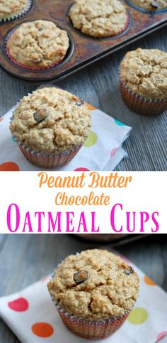 Peanut Butter Chocolate Oatmeal Cups  Tried 4/17: Tasty but kinda prefer an actual muffin (these have no flour). Fairly simple to make. Tend to fall apart.
