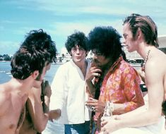 Jimi Hendrix with Micky Dolenz and Peter Tork of The Monkees. The Jimi Hendrix Experience played 7 concerts with them before quitting the tour in 1967