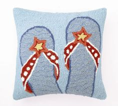 Blue Flip Flops Hook Pillow   Coastal Style Gifts