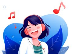 Music Girl by Murphy不语 illustration Music Girl Art And Illustration, Musik Illustration, Illustration Inspiration, Flat Design Illustration, People Illustration, Illustrations And Posters, Character Illustration, Watercolor Illustration, Vector Character