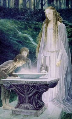 "Alan Lee - Lord of the Rings illustrator - The Mirror of Galadriel  ""The air was very still, and the dell was dark, and the Elf-lady beside him tall and pale. 'What shall we look for, and what shall we see?' asked Frodo, filled with awe."""