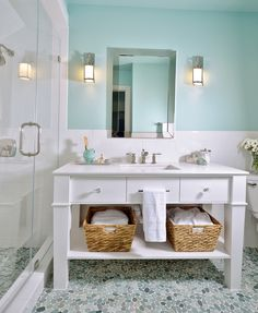 Upstairs Bath - sea green pebble tile on flooring. https://www.pebbletileshop.com/products/Sea-Green-Pebble-Tile.html#.VeclKflViko