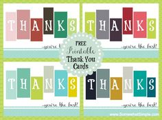 Free Printable Thank You Cards from SomewhatSimple.com #thankyoucards