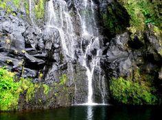 Cascata do Poço do Bacalhau, Fajã Grande, Lajes das Flores, ilha das Flores, Açores, Portugal.