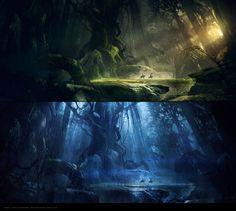 Knights by Roldan Fantasy Places, Fantasy World, Fantasy Art, Environment Concept Art, Environment Design, Matte Painting, Fantasy Landscape, Environmental Art, Weird World