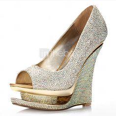 satin elegante zeppa peep toe / zeppe con scarpe da sposa strass (più colori disponibili)