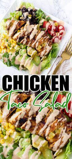 Easy Taco Salad Recipe, Taco Salad Recipes, Summer Salad Recipes, Salad Recipes For Dinner, Dinner Salads, Chicken Fajita Salad Recipe, Grilled Chicken Tacos, Grilled Chicken Recipes, Cooked Chicken