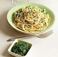 Linguine with Hot Chile, Caramelized Onion & Gremolata, fine cooking