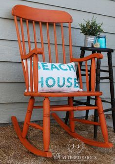 Orange Rocking chair painted with Annie Sloan Barcelona Orange and Dark Waxed by {The Splattered Smock} www.facebook.com/TheSplatteredSmock