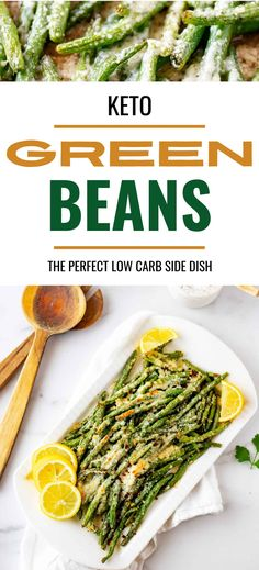 Roasted Green Beans with Parmesan are a healthy, satisfying, and fun side that even the kids love! With just a handful of ingredients, and requiring only a few minutes of hands-on time, this keto-friendly recipe is perfect when you need a fast meal without a lot of fuss. Who knew vegetables could be so addictively good? Low Carb Vegetarian Recipes, Healthy Gluten Free Recipes, Vegetarian Breakfast, Sugar Free Recipes, Ketogenic Recipes, Low Carb Side Dishes, Veggie Side Dishes, Side Dishes Easy, Low Carb Vegetables