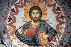 Mural in monastery in Ag. Oros Athos Greece showing God inside the Zodiac