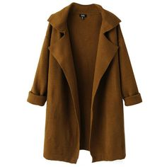 Chicnova Fashion Long Sleeves Loose Fit Coat (145 SAR) ❤ liked on Polyvore featuring outerwear, coats, jackets, tops, long sleeve coat and brown coat