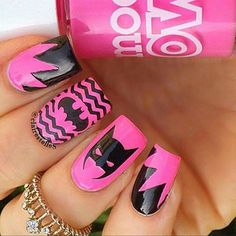 Pink nail polish with some nice black print - LadyStyle