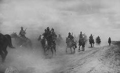 Romanian cavalry riding along the road from the Sea of ​​Azov which branched off of the Black Sea, WWII, pin by Paolo Marzioli