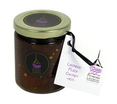 Lavender Peach Chutney - This sweet, spicy, tangy blend with small chunks of fruit makes for a fast appetizer when spread over crackers or flat bread with goat cheese or cream cheese. Or, use as a topping to a baked brie served with sliced baguette.