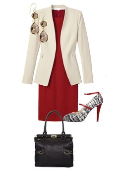 Reinvent the Power Suit - White Blazer with a Red Dress - Office Fashion Over 50