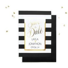 Save the Date - Black and white stripes with gold foil  - Elegant Wedding - Black White Gold Wedding