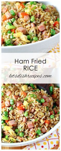 Fried rice tossed with soy sauce, scrambled eggs, diced ham and veggies. Even better than take-out! Ham Fried Rice - Ham Fried Rice Recipe: Fried rice tossed with soy sauce, scrambled eggs, diced ham and veggies. Even better than take-out! Recipe For Canned Ham, Diced Ham Recipes, Recipes With Cooked Ham, Healthy Crockpot Recipes, Rice Recipes, Side Dish Recipes, Asian Recipes, Cooking Recipes, Healthy Recipes