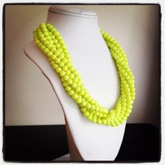 Neon Yellow Statement Necklace. $52.00, via Etsy.