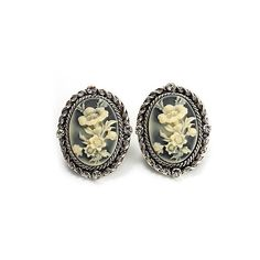 Antique Silver Floral Cameo Clip-On Earrings (49 BRL) ❤ liked on Polyvore featuring jewelry, earrings, accessories, orecchini, women, gray earrings, ivory jewelry, cameo earrings, earring jewelry and grey earrings
