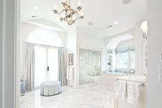 Markay Johnson Construction - bathrooms - white walls, white wall color, vaulted ceiling, vaulted bathroom ceilings, recessed lighting, pot lights, marble tiled floors, marble floor tile, carrara marble, carrara marble tiled