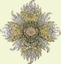 Star of the Order of Bath Made for Prince Albert, 1840 Gold, Yellow Diamonds, White Diamonds, Emeralds, Rubies and Enamel