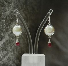 Pearl coin and Ruby corundum 6*8mm wire wrapped Drop 925 sterling Silver Earring #Handmade #DropDangle